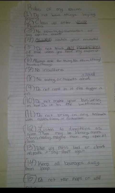 Funny kids notes my daughters bedroom rules funny Funny bedroom