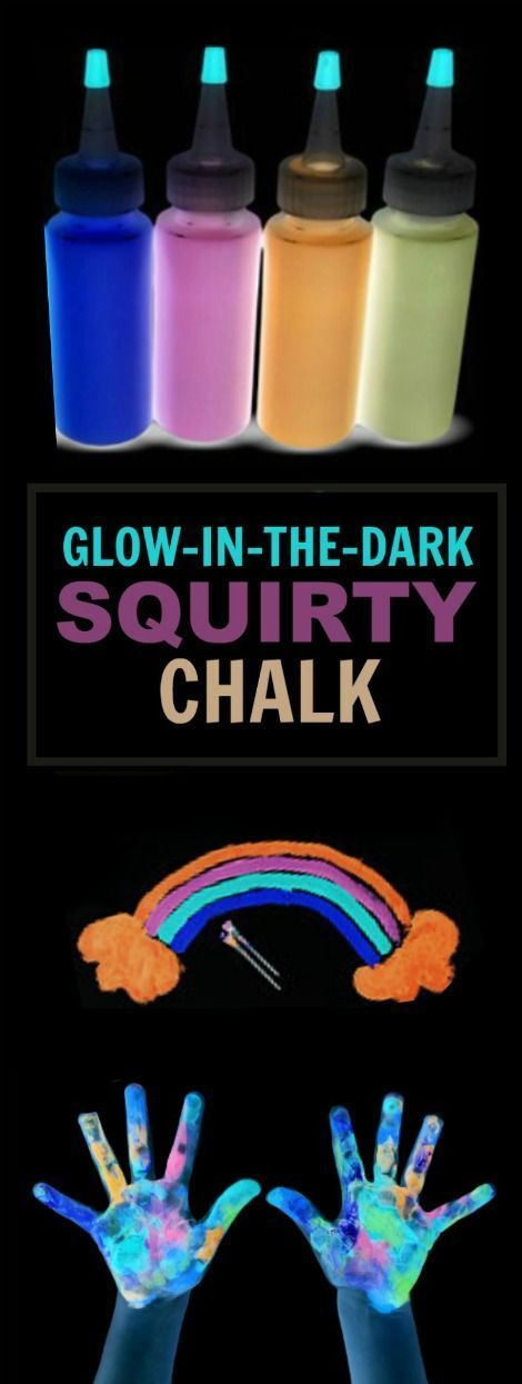 DIY SQUIRTY CHALK THAT GLOWS-IN-THE-DARK.  What?  This is so cool! I can't wait for Summer!!
