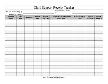 Avoid child support disputes by tracking payment receipts made over the course of a year or more. Free to download and print