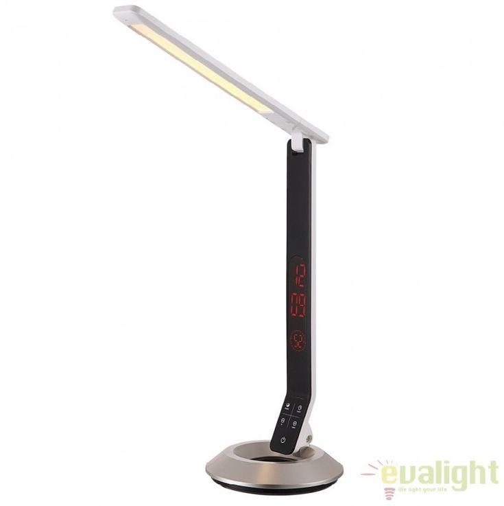 Veioza / Lampa moderna cu touch dimmer si ceas electronic incorporat cu iluminat LED, DRINA 58275 GL - Corpuri de iluminat, lustre, aplice