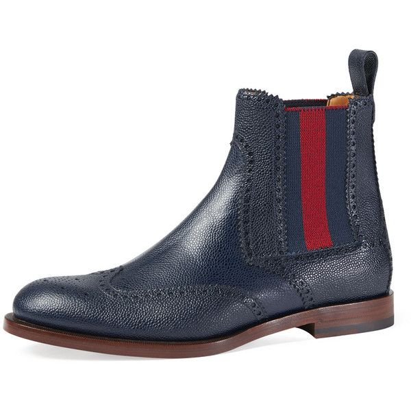 Gucci Strand Hammered Leather Chelsea Boot w/Web ($975) ❤ liked on Polyvore featuring men's fashion, men's shoes, men's boots, navy, mens woven leather slip-on shoes, mens slip on boots, navy blue mens shoes, mens leather chelsea boots and mens leather ankle boots
