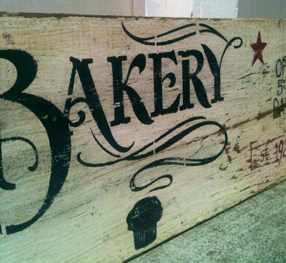 Distressed ,Farmhouse ,Reclaimed wood,Painted wood sign,Kitchen Art , Bakery, Old Sign, Vintage, Cafe, Barn Wood, Wood Sign, Home Decor. $55.00, via Etsy.