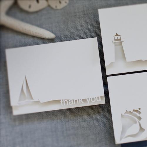 Image of nautical thank you - A6 white
