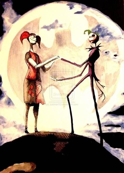 Harley Quinn and The Joker.... Tim Burton style.... oh happy me is happy