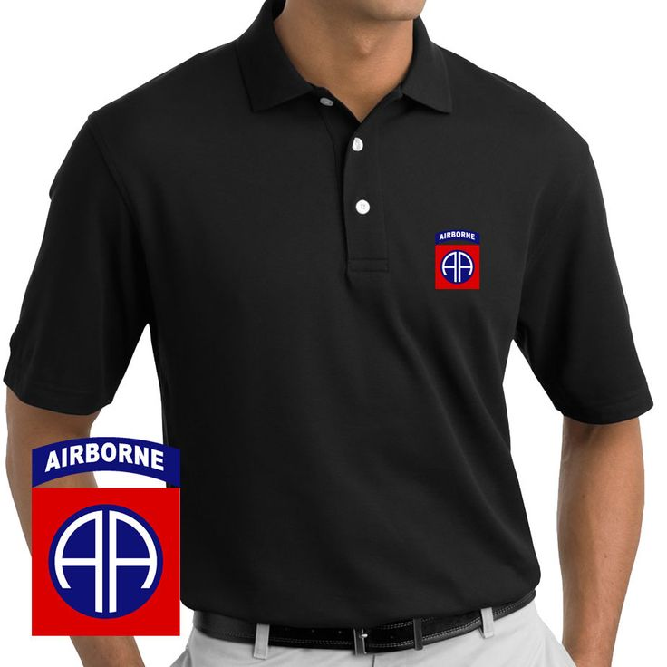 Embroidered Army 82nd Airborne Division - Polo Shirt. These Polos will keep you cool and looking good all season long. The Insignia is handsomely embroidered onto our comfortable 100% cotton Polos.