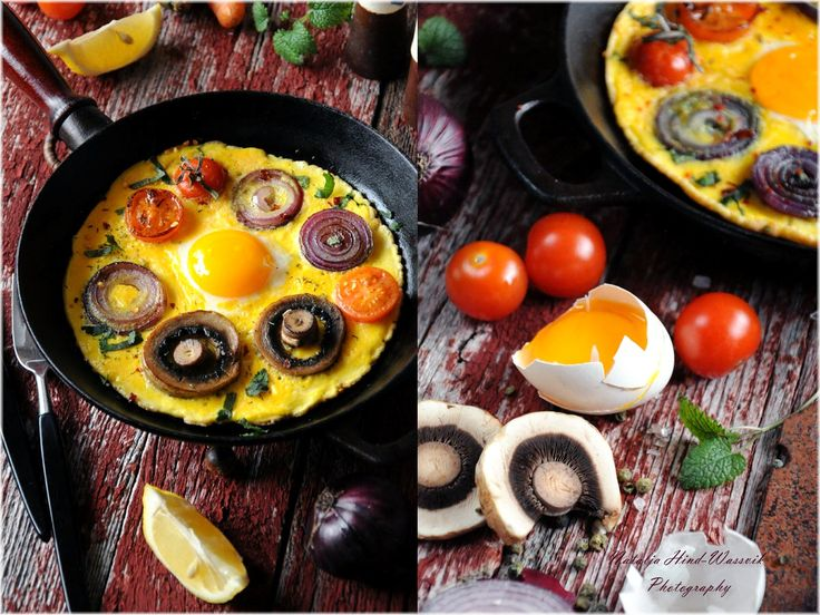 Rustic Egg Omelette with Champignons, Red Onion & Tomatoes Sherry