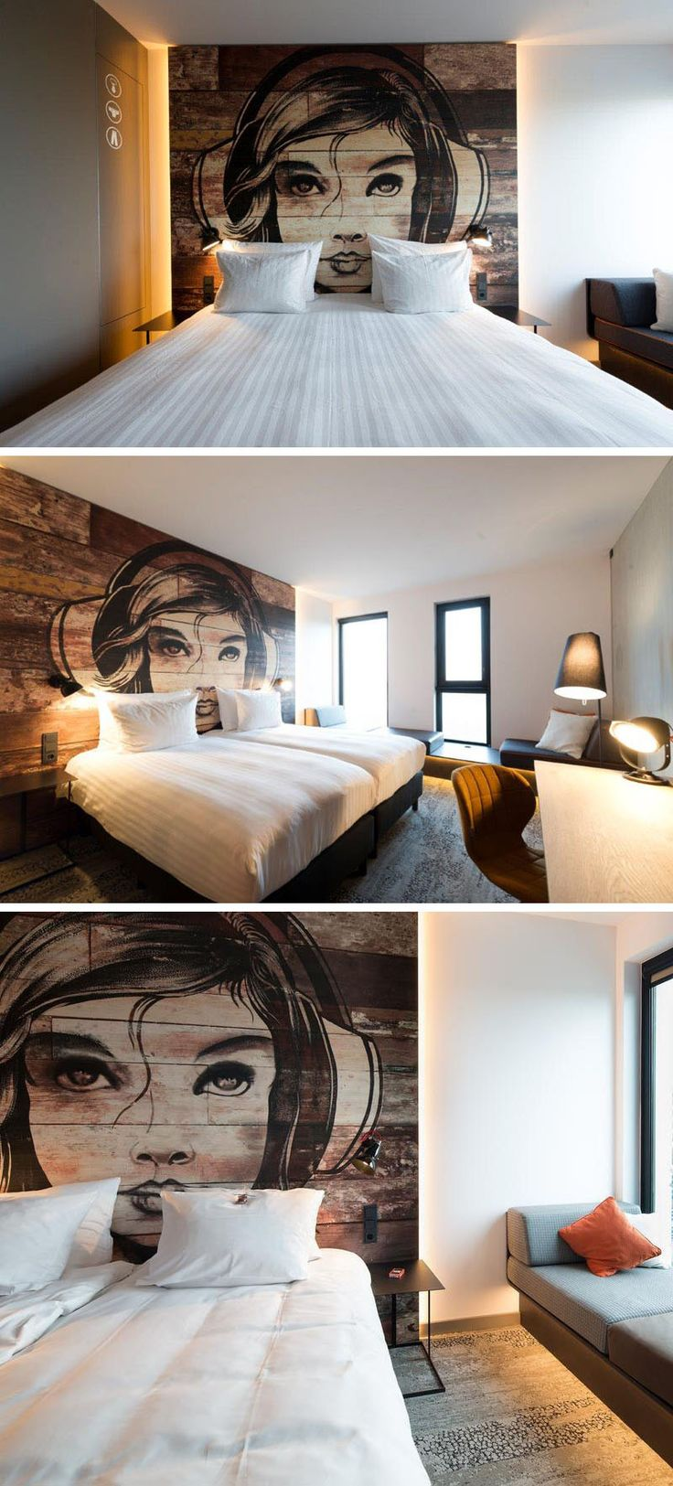 This modern bedroom has a mural painted of a girl on a headboard made from reclaimed wood