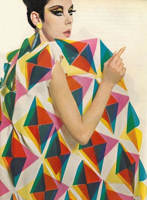 paco robanne vintage technicolor fashion illustration