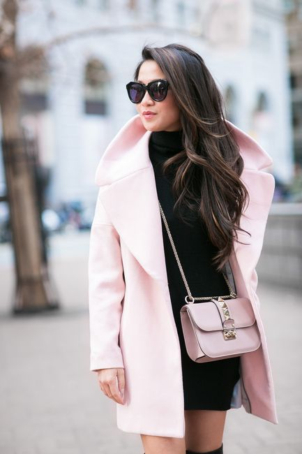 San Francisco :: Rose coat & Turtleneck sweater dress :: Outfit :: Coat :: Calvin Klein Dress :: Prada Shoes :: Gianvito Rossi Bag :: Valentino Accessories :: Karen Walker sunglasses Published: February 16, 2015
