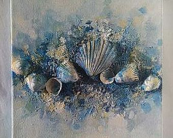 Arte contemporanea, coperture del mare (8x8), Home Decor, stampe su tela, arte della parete originale spiaggia, arte mista, arredamento Seashell, spiaggia, pietra, amore...