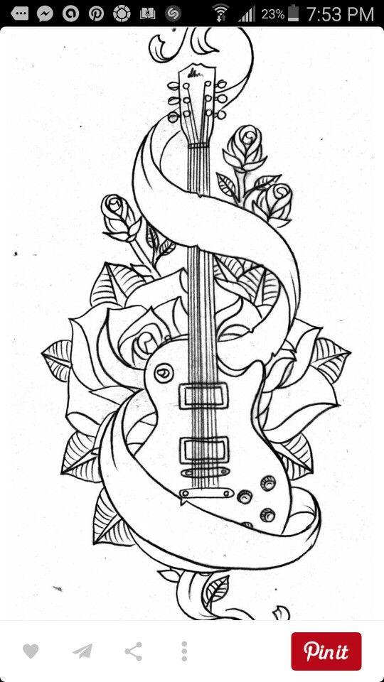 Raw sketch up guitar tattoo