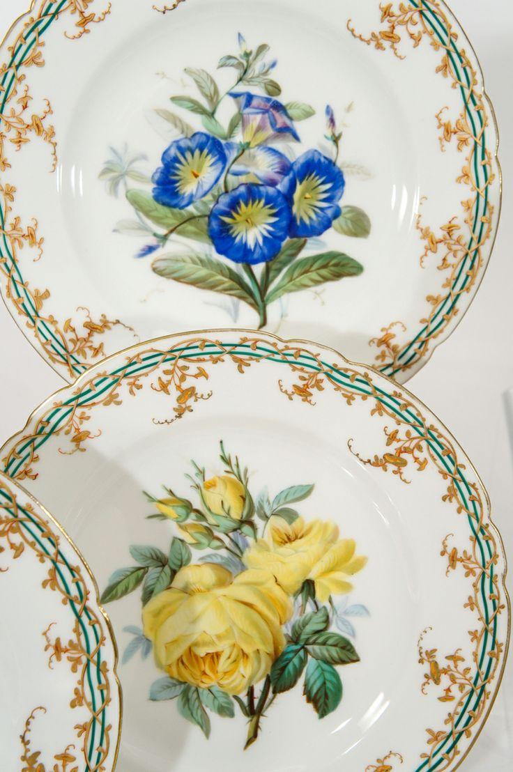 Old Paris Hand Painted 18 Piece Botanical Dessert Service  sc 1 st  Pinterest & 51 best Hand painted antique plates images on Pinterest | Hand ...
