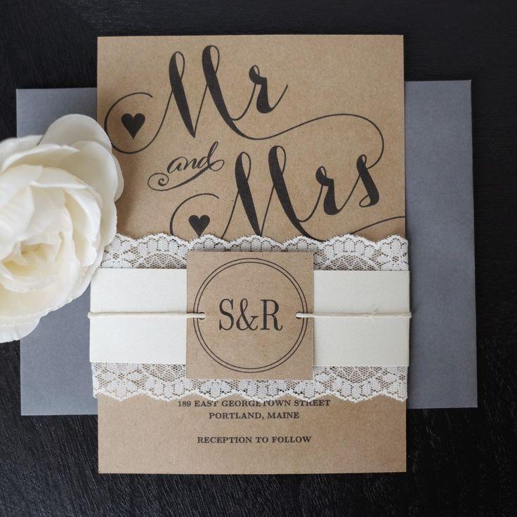 luau wedding invitation templates%0A Mr   u     Mrs  wedding invitation template embellished with lace belly band   Simple yet