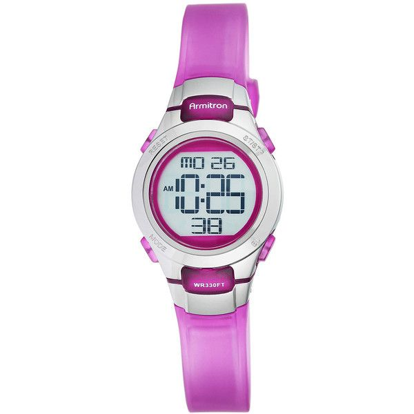 Armitron Womens Pro Sport Purple Digital Strap Watch ($26) ❤ liked on Polyvore featuring jewelry, watches, armitron, sports wrist watch, sport jewelry, buckle watches and alarm wrist watch