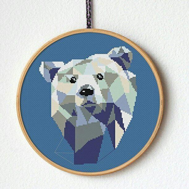 Polar bear cross stitch pattern Geometric bear Modern cross stitch
