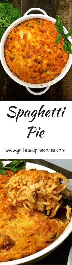Spaghetti Pie is spaghetti, Italian sausage, mushrooms, black olives, and a rich tomato sauce with fontina, feta, and Parmesan cheese!   via @http://www.pinterest.com/gritspinecones/