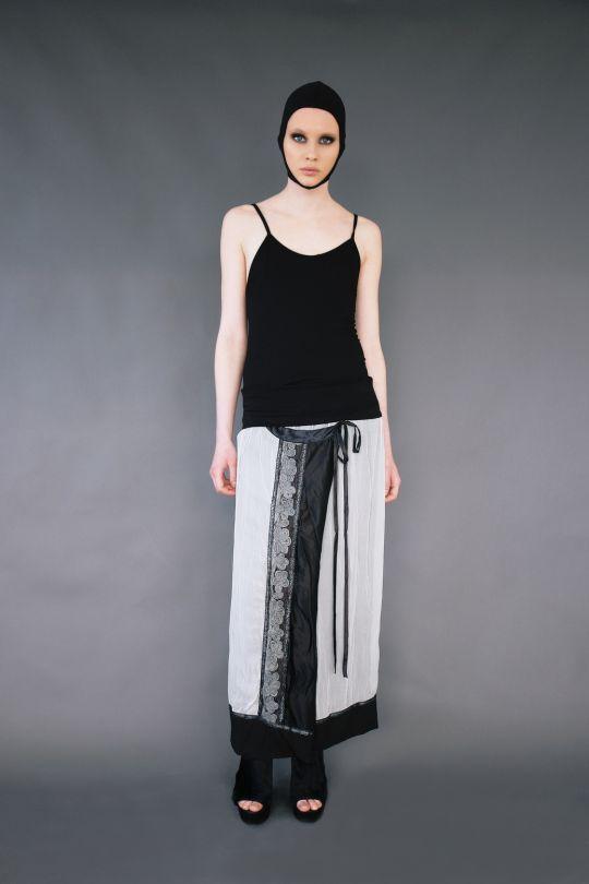 Bicolour silk skirt with pattern www.maurizio.gr