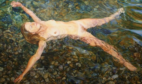 This combination of nude and water originates from a roll of slide film shot in 1979 which lay dormant until recently when the idea to begin a new series of paintings evolved. This one is almost life size.