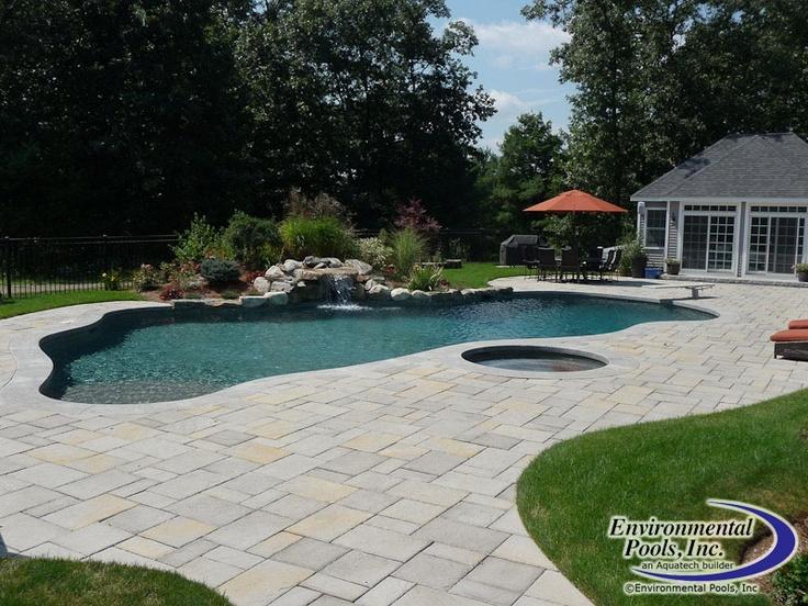 Free Form Pool With Spa At Same Elevation Www.environmentalpools.com