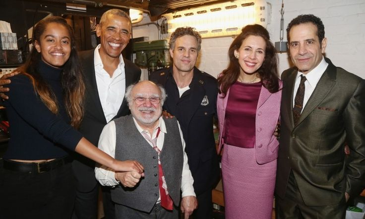After participating in a standing ovation, Barack and Malia visited the cast of The Price backstage.   Seen here, the father and daughter happily posed with: Danny DeVito, Mark Ruffalo, Jessica Hecht and Tony Shalhoub at The American Airlines Theatre in New York City.