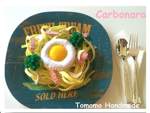 Etsy Pretend food Play food Felt food  Carbonara by TomomoHandmade, $13.00