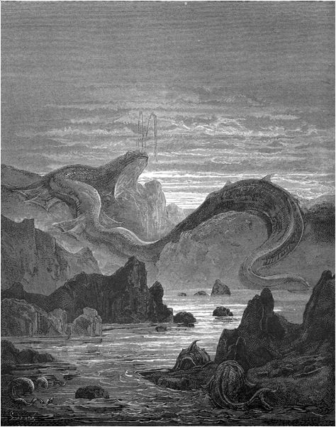 Paradise Lost woodcut -- Gustave Dore. Leviathan.