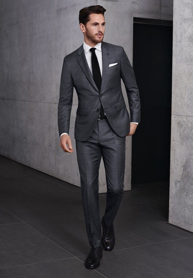 great look special promotion meticulous dyeing processes Custom Fashion Man's Charcoal Gray Suit Groom Tuxedos Casual ...