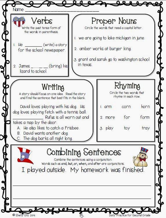 Second Grade Week 3: Grammar review for second grade--click on preview for FREE sample pages. Worksheet for students to practice their knowledge of verbs, proper nouns, writing, rhyming, and combining sentences.