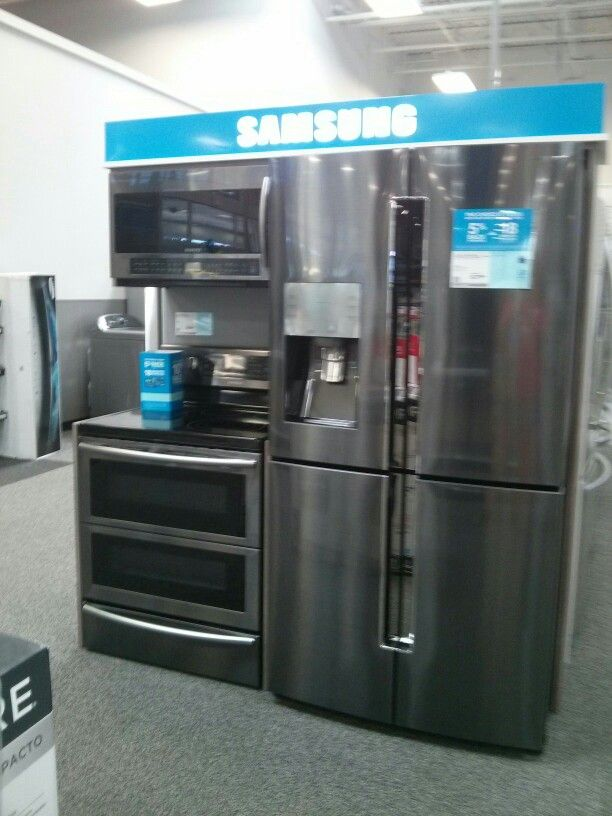 Black Stainless Appliances Samsung Blue Kitchen Decor
