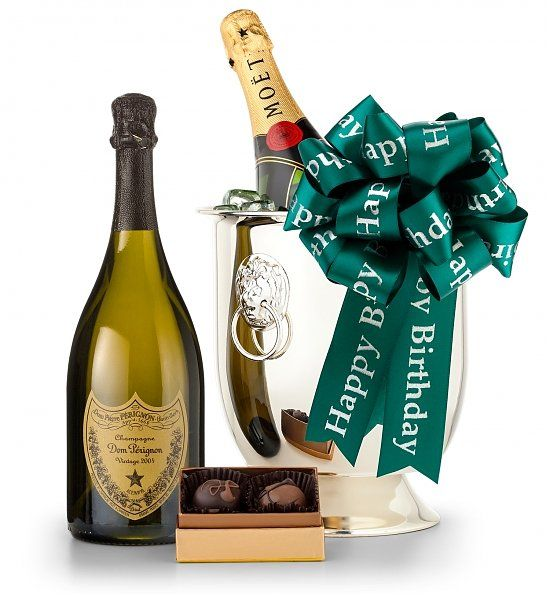 Happy Birthday Champagne & Chocolate Gift basket - comes in an elegant champagne chiller.