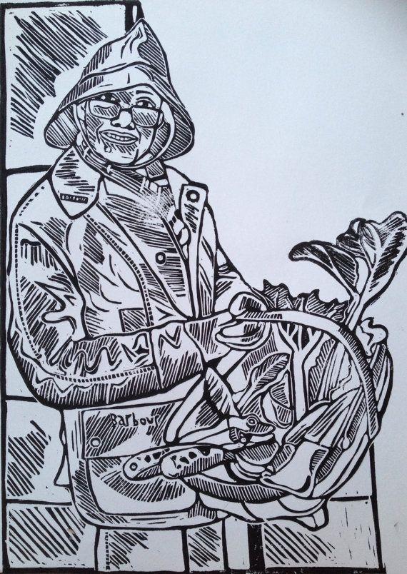 Linocut portrait of woman gardening