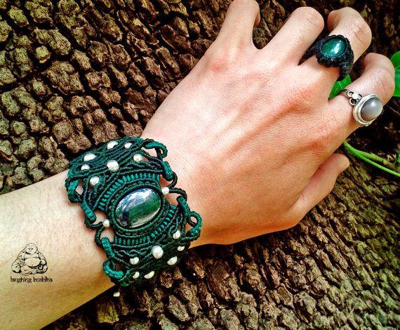 Hematite macrame bracelet handmade bracelet by byLaughingBuddha