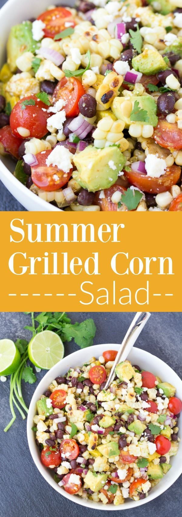 This Summer Grilled Corn Salad is full of avocado, black beans, and Cotija cheese, along with a chili-lime Mexican dressing. A yummy side dish for summer! #ad kristineskitchenb...