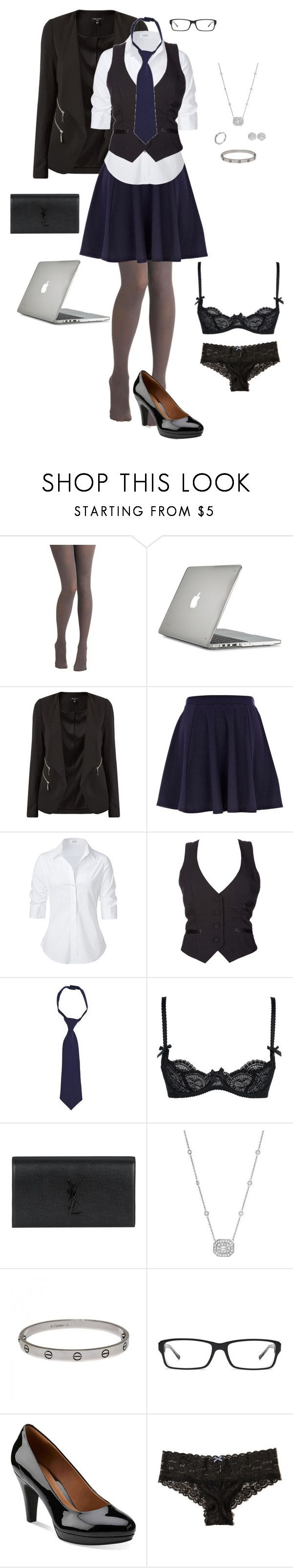 """""""Uniform"""" by gone-girl ❤ liked on Polyvore featuring Tulle Clothing, Speck, New Look, River Island, Steffen Schraut, Charlotte Russe, French Toast, L'Agent By Agent Provocateur, Yves Saint Laurent and Penny Preville"""
