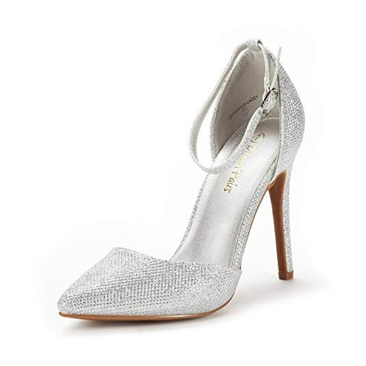 2e08314d2 DREAM PAIRS Women's Oppointed-Lacey Silver Glitter Fashion Dress High Heel  Pointed Toe Wedding Pumps