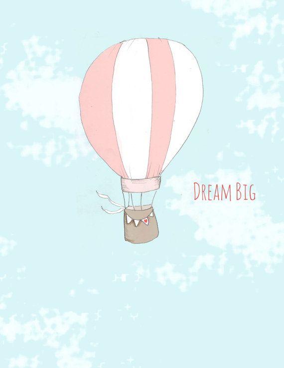 Digital Art Print - Illustration - Balloon Art- Baby Girl Nursery Decor - Hot Air Balloon Art - via Etsy