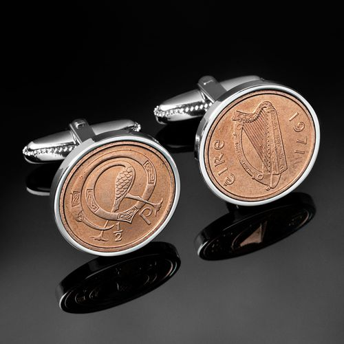 Half pence cufflinks USD $59.00 The Irish 1/2p cufflink are made from 1971 1/2p coins, they are mint coins and have perfect definition. The design is from the Book of Kells.