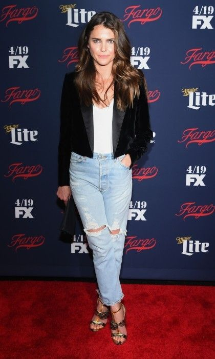 Keri Russell hit the red carpet at FX Network's 2017 All-Star Upfront at SVA Theater in New York City. The Americans star kept things casual in ripped jeans, a white t-shirt and a velvet blazer.