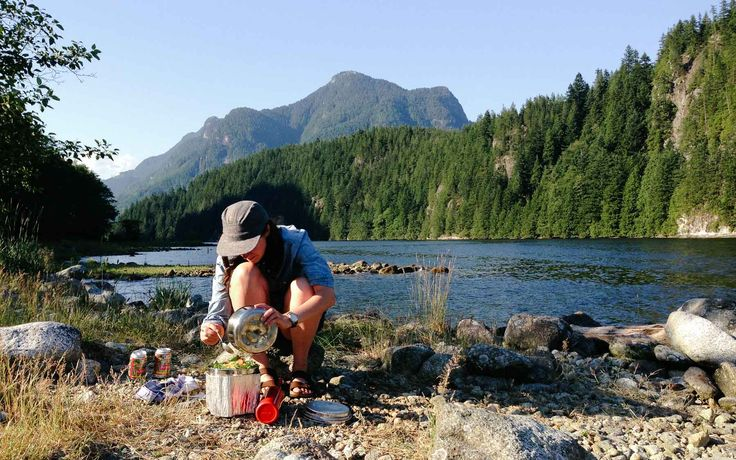 Cooking up some dinner in the wilderness near Vancouver, BC