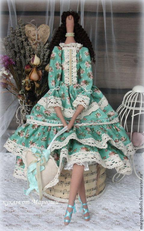 Купить Кукла в стиле Тильда.Принцесса Каролина. - темно-бирюзовый, бирюзовый цвет