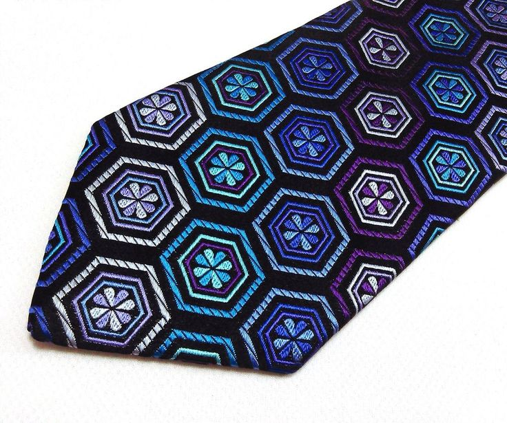 Bold ULTRA Rare Robert Talbott 100% Silk Colorful Teal Multi-color Power Tie #RobertTalbott #NeckTie
