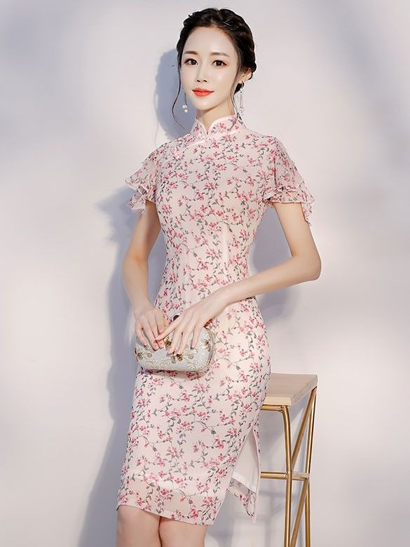 Pink Floral Ruffle Sleeve Qipao / Cheongsam Dress