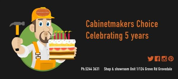 Cabinetmakers Choice Geelong celebrates five years in business. Whilst our core business is cabinetry hardware, we are known as THE WARDROBE BLOKES, a title we love !