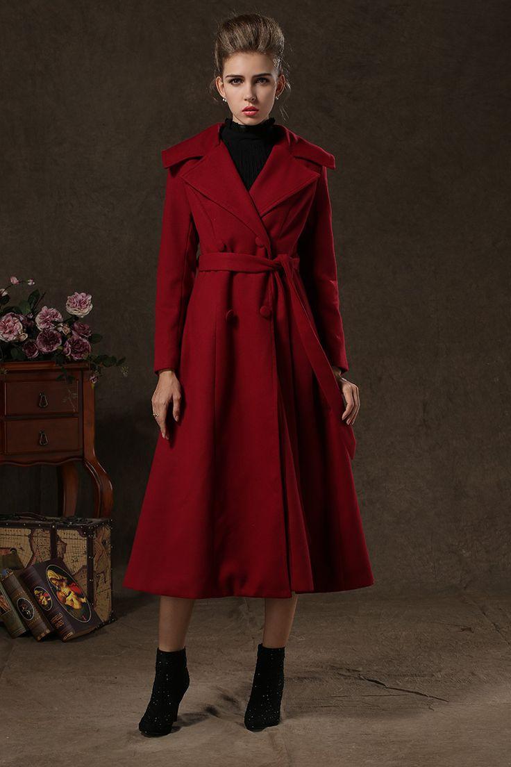 2014 large lapel Long wool swing Coat Women's desigual ...