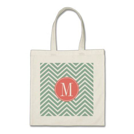 Mint and Coral Chevrons with Custom Monogram Tote Bag #monogram #personalised #custom #named #gifts #bags