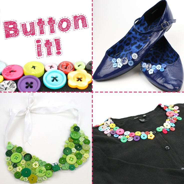 Embellish your clothes, shoes and accessories with buttons! #buttons #craft #sewing #hobby #shoes #collar #necklace #buttoncollar #embellished #upcycle