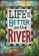 Life Is Better At The River Canoe Camping Double Sided Garden Flag 12 x 18