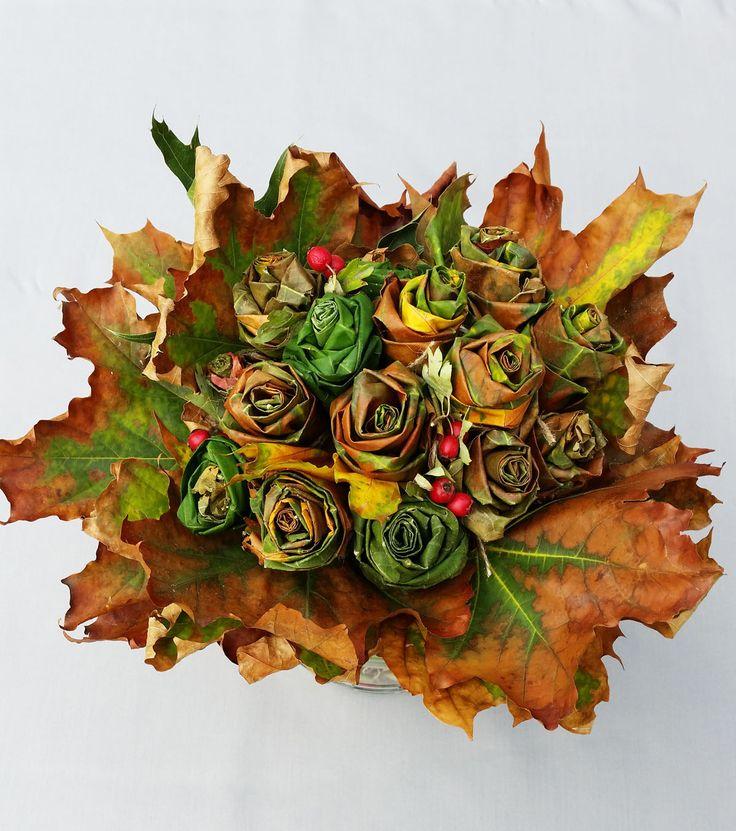 Jesienne dekoracje z liści: bukiet jesienny KROK PO KROKU - Urzadzamy.pl