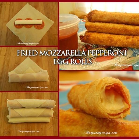 Delicious Fried Mozzarella-Pepperoni Egg Roll