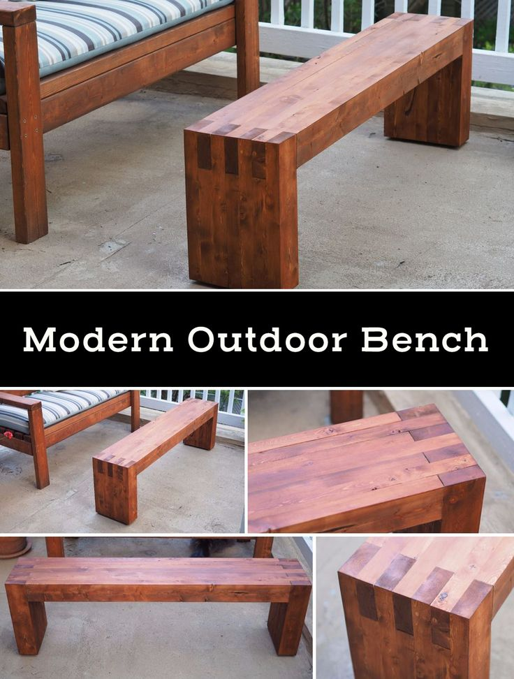 Want a modern expensive looking outdoor bench that actually costs very little to make? Not to mention it also doubles as a coffee and a footrest.